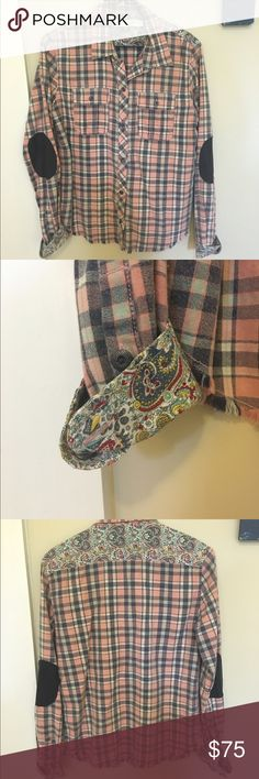 Artisan flannel shirt with details Anthropologie Size small plaid button up flannel shirt. Awesome vegan leather elbow patch detail, with contrasting paisley pattern at the cuff and neck detail. Never worn. Anthropologie Tops Button Down Shirts