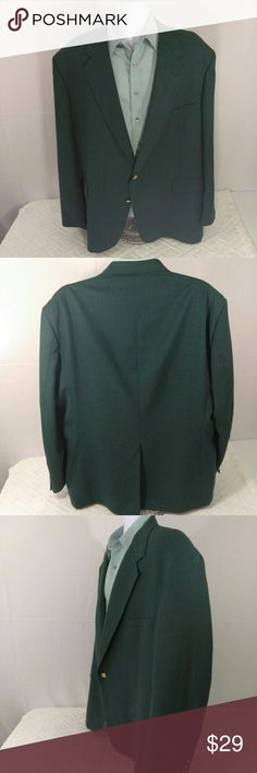 """Stafford Vintage Wool Blend Sport Coat Blazer EUC Excellent used condition. Men's size 52L (big & tall). Color Green with bronze buttons. Two buttons on front. Top button is a bit loose, but it is still attached and functional. 55% Polyester, 45% Worsted Wool. Dry clean.  Aprox. Laying flat measurements: Across shoulders 21.5"""", sleeve 27"""", length 34.5"""".  Remember to bundle up and save more, so check my closet for more treasure finds. Stafford Suits & Blazers Sport Coats & Blazers"""