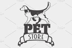Pet store logo with golden retriever. Pet Icons