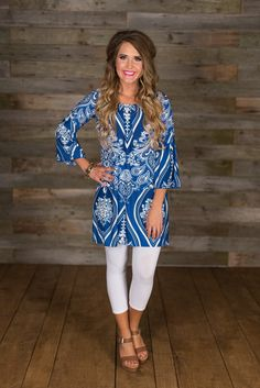 Made You Look Tunic/Dress - Royal/White