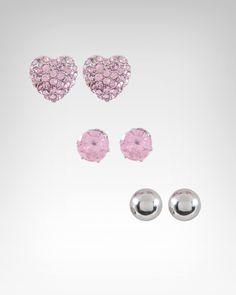 "We ""heart"" these! bebe Heart & Stud Trio Earring Set - WEB EXCLUSIVE, $22, SKU 192055 #bebe #wishesanddreams"