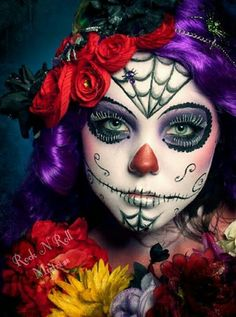 Sugar skull face make up Sugar Skull Makeup, Sugar Skull Art, Sugar Skulls, Maquillaje Sugar Skull, Halloween Make Up, Halloween Face Makeup, Halloween Costumes, Diy Costumes, Vintage Halloween