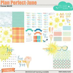 Digital scrapbooking kit Plan Perfect - June Planner Mini Kit, by Melissa Renfro at ScrapGirls.com