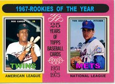 1975 Topps Rookie of the Year, 1967 Topps, Baseball cards that never were, Rod Carew Minnesota Twins Tom Seaver New York Mets