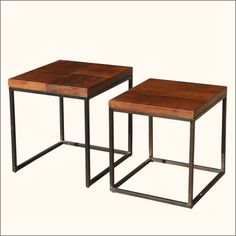 Be in control of your space with this smart set of two contemporary stacking tables. The two square end tables have a fresh and modern style. The table tops are built with solid Indian Rosewood, a premium hardwood which is both dense and strong. The iron bases of each cube table have open sides and can fit together. The larger nested table has a four square style table top and the smaller cocktail table has a solid wood design.  #interiors #contemporyfurniture #homedecor #furniture…