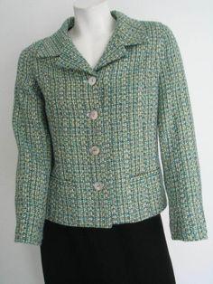 Chicos Tweed Blazer Size 0 XS Lined Jacket Green Blue #Chicos #BasicJacket