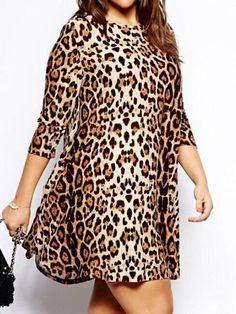 Plus Size Long Sleeve Leopard Shift Dress