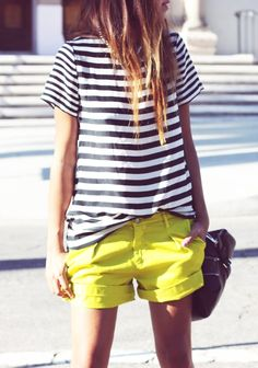 Yellow shorts & Stripes