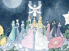 Queen Serenity, Inner and Outer Scouts, Sailor Moon, Sailor Mini Moon, and Luna
