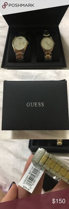 Guess Two-Tone His and Her Watches his and her two tone watches. waterproof stainless steel. men's watch shows date and day day of the week and women's watch show date and is outlined in jewels. brand new never been worn. willing to negotiate. Guess Jewelry