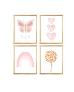 Blush and Gold Butterfly Gallery Wall, Set of 4 Girls Prints Blush And Gold, Blush Pink, Blush Nursery, Gold Bodies, Bedroom Prints, The Fragile, Linen Pillows, All Print, Gallery Wall