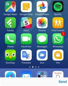 Oikein mielenkiintoinen näkymä #ios10 käyttiksessä. SEND-viestikenttä dockin päällä. Fantastic?! #bug #fail #potkukelkkacom