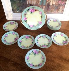 LIMOGES FRANCE PINK ROSES CAKE PLATTER TRAY WITH EMBOSSED GOLD & 12 CAKE PLATES  #Limoges