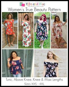 The Women's True Beauty Sewing Pattern has released! The True Beauty is an off the shoulder women's tunic, maxi or mini dress sewing pattern. Pdf Sewing Patterns, Dress Patterns, Sewing Stitches, Clothing Patterns, Ellie And Mac Patterns, Tunic Pattern, True Beauty, Beauty Tips, Beauty Hacks