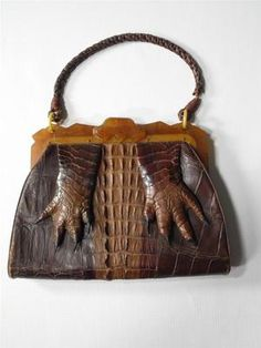 BEAUTIFUL VINTAGE ALLIGATOR HAND BAG PURSE AND WALLET BAKELITE CLASP FEET CLAWS $300.00 SOLD