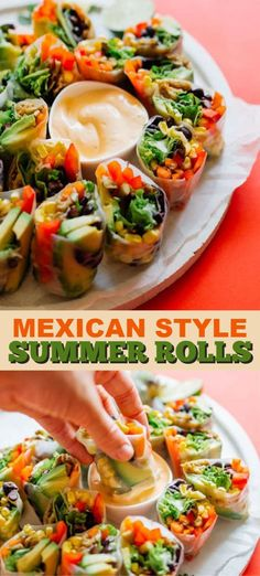 These Mexican Style Summer Rolls are packed with fresh veggies and dipped in a smoky chipotle sauce youll forget how healthy they are Chipotle Sauce, Kitchen Recipes, Cooking Recipes, Vegetarian Appetizers, Mexican Food Appetizers, Easy Summer Appetizers, Clean Eating Snacks, Summer Recipes, Summer Vegetarian Recipes