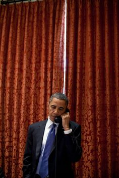 President Barack Obama makes a phone call to Congressional leaders from the…