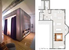 """Z Box - I never knew what """"furnitecture"""" was until I came across the Z Box from Dan Hisel. Dan Hisel is an architect who designed the Z Box as an. Home Building Design, Building A House, Micro Apartment, Cube, Interior Design, Box, Bedrooms, Interiors, Furniture"""