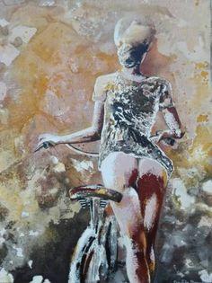 "Saatchi Art Artist Donatella Marraoni; Painting, ""Same woman...another bike"" #art"