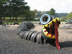 A snake made of tires for the recycled park