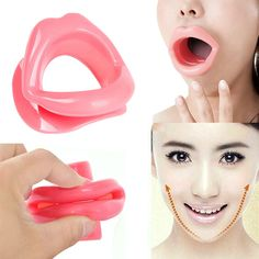 Pink Silicone Rubber Face Slimmer Massage Muscle Tightener Anti-Aging Anti-Wrinkle Mouth H7JP