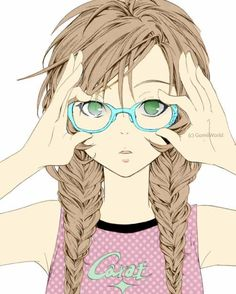 Image result for anime girl with dirty blonde hair and glasses