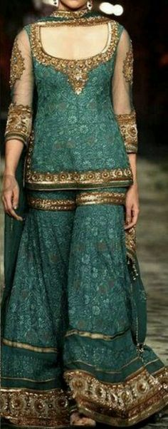 love the colour and dark gold accents || tags: #pakistani wedding #fashion #style #bride #bridal party #gorgeous #elegant #lehenga #desi style #designer #outfit #inspired #beautiful #must-have's #india #jewellery #pakistan #shaadi #walima #jora #mehndi #henna #mayoun #dholki #muslim #wedding