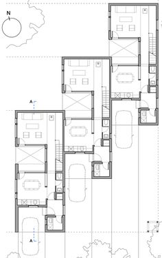 Gallery of CLF Houses / Estudio BaBO – 16 – architectural The Plan, How To Plan, Villa Plan, Modern House Plans, Small House Plans, Architecture Plan, Residential Architecture, Haus Am Hang, Architectural Floor Plans