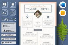 CV Design, Creative CV, resume Layout and Cover Letter Cover Letter Tips, Cover Letter Template, Letter Templates, Resume Design Template, Creative Resume Templates, Cv Template, Design Templates, Resume Layout, Resume Writing