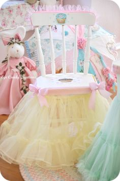 Tutus glued to the bottom of the seat to make it more colorful and cute! What a great idea for little kids!