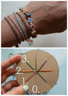 DIY Woven Friendship Bracelet using a circular cardboard loom. You will need: cardboard, something circular, scissors, ruler, pen, and embroidery thread/thin yarn/ribbon.