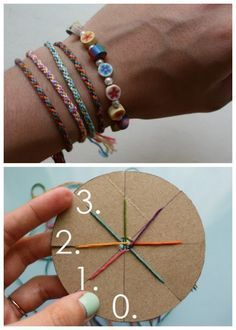 DIY Woven Friendship Bracelet using a circular cardboard loom. You will need: cardboard, something circular, scissors, ruler, pen, and embroidery thread/thin yarn/ribbon.