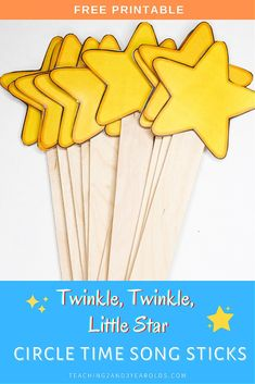 Download these free Twinkle Twinkle, Little Star printable song sticks for the toddlers and preschoolers to hold during music! #circletime #music #printable #song #star #toddlers #preschool #2yearolds #3yearolds #teaching2and3yearolds 3 Year Old Preschool, Preschool Literacy, Toddler Preschool, Preschool Activities, Kindergarten, Circle Time Songs, Circle Time Activities, Movement Activities, Little Star Song