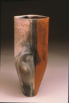 "Nicolas March, Smoke Fired, Textured Slips,Terra Sigilata, Canada 1999, 14"""