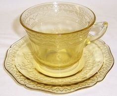 Federal Amber Depression Glass PATRICIAN SPOKE Cup and Saucer Antique Dishes, Antique Glassware, Vintage Dishes, Vintage Tea, Glass Tea Cups, Milk Glass, Vaseline Glass, Coffee Cups And Saucers, Fenton Glass