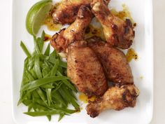 Honey-Glazed Chicken Wings With Snow Peas from #FNMag #myplate #protein #veggies