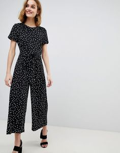 Warehouse Polka Dot Belted Crepe Jumpsuit
