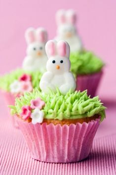 Photo about Mini cupcakes decorated with easter bunnies. Image of green, bunnies, cupcakes - 19257403 Easter Bunny Cupcakes, Easter Treats, Bunny Cakes, Easter Cake, Tolle Cupcakes, Little Muffins, Desserts Ostern, Easter Parade, Easter Activities