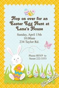 A Easter Day Invitations Easter Invitations, Dinner Invitations, Diy Invitations, Easter Dinner, Egg Hunt, Printing Services, Easter Eggs, Rsvp, Color Schemes