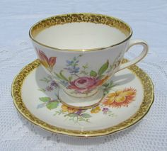 Vintage Tea Cup and Saucer Gladstone Bone China with by TheAcreage