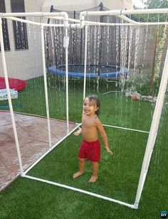 Backyard PVC Sprinkler Waterfall-20 PVC Pipe DIY Projects For Kids  This would be a good idea for gardens as well