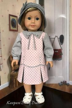 Pixie Faire Keepers Dolly Duds Downtown Doll Clothes Pattern for 18 inch American Girl Dolls - PDF American Girl Outfits, Ropa American Girl, American Doll Clothes, Original American Girl Dolls, Sewing Doll Clothes, Girl Doll Clothes, Doll Clothes Patterns, Clothing Patterns, Doll Patterns