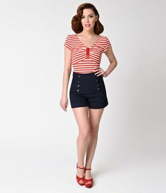 The high tide has brought Debbie into port, gals! A fabulous high-waisted nautical inspired piece, the Debbie Shorts from Unique Vintage are a sailor stunner cast in a vintage high waist design. Crafted in a lovely woven blend, these charming navy blue sh