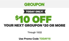Groupon Canada Todays Deals: Save $10 Off Your $20 Purchase with Promo Code http://www.lavahotdeals.com/ca/cheap/groupon-canada-todays-deals-save-10-20-purchase/129444