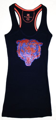I own this tank top . Love it! Chicago Bears Bling Sparkle Jersey Tank Top or Tee