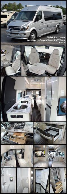 2016 AIRSTREAM INTERSTATE GRAND TOUR EXT TWIN Class B. Built with a focus on long-term adventures for two. This new floorplan offers a pair of twin beds. Both Grand Tour floorplans feature a larger galley than the Interstate Lounge, with additional counter space, multi-functional storage areas, a flexible workspace desk, and an over-sized fridge and freezer. Perfect for long road trips.