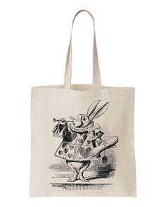 Canvas Tote Bag Alice in Wonderland White Rabbit Screen Print