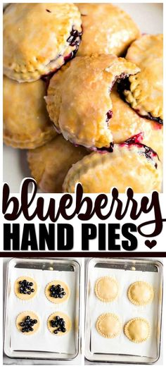 This easy, delicious blueberry hand pie recipe uses blueberry filling. After baking, add a sweet glaze for a favorite mini treat that everyone will love. Blueberry Hand Pies Recipe, Blueberry Desserts, Just Desserts, Delicious Desserts, Yummy Food, Blueberry Turnovers, Mini Blueberry Pies, Homemade Blueberry Pie, Blueberry Cookies