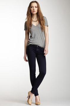 Navy Coated Skinny Jean with grey V-T but no heals