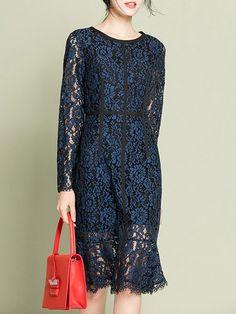 Guipure Elegant Floral Sheath Long Sleeve Midi Dress - StyleWe.com